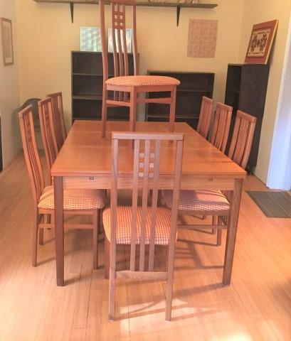 Danish Modern teak refectory table 8 Italian chairs