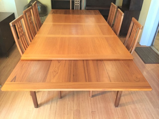 Danish Modern Teak Refectory Table By Ansager With 8