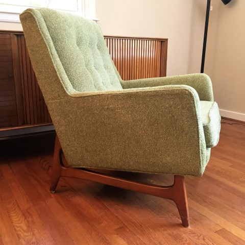 Mid Century Armchair With Light Green Wool Upholstery