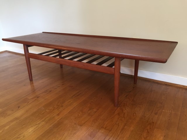 Danish Modern Teak Surfboard Coffee Table By Grete Jalk