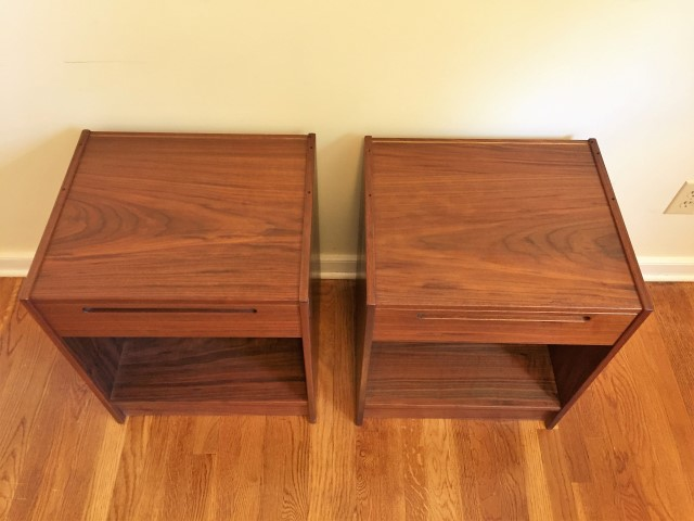 Danish rosewood side tables with drawer