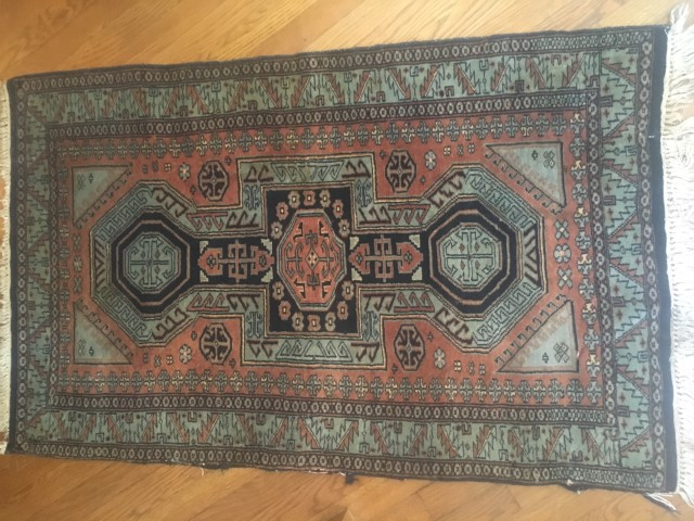 hand knotted area rug teal brown