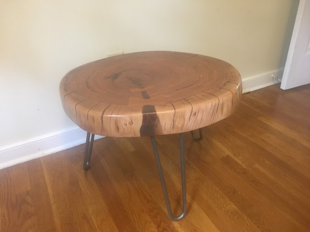 handcrafted cherry slab coffee table