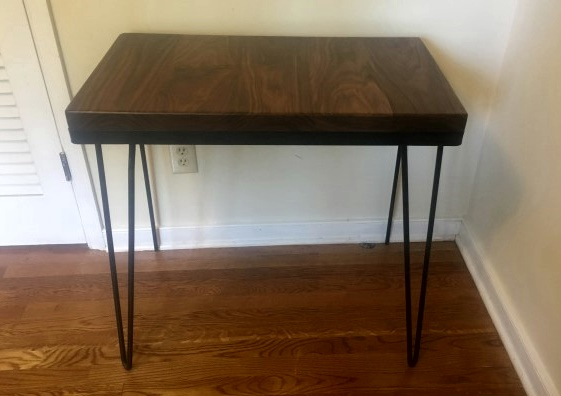 handcrafted console table walnut steel