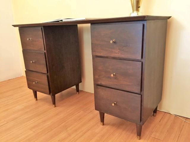 mid century modern hand crafted pedestal desk