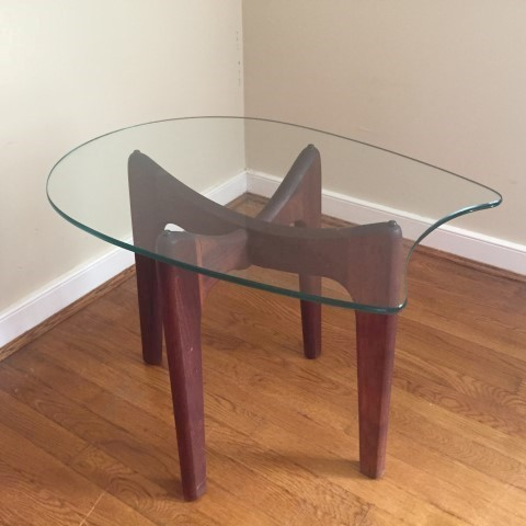 Sculpted Walnut Side Table With Safety Glass Pearsall Style