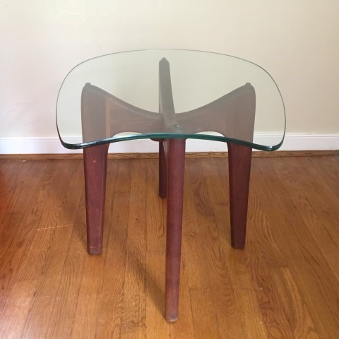 mid century modern pearsall style walnut base glass topped accent table