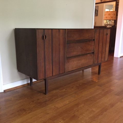 Mid Century Modern Walnut Stanley Credenza With Rosewood