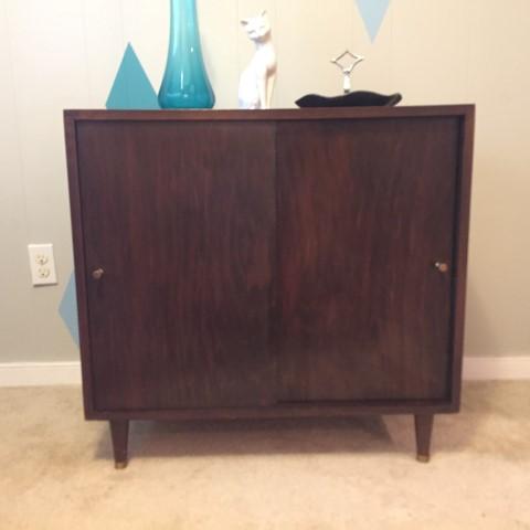 Hand Crafted Mid Century Modern Storage Cabinet W/ Sliding Doors