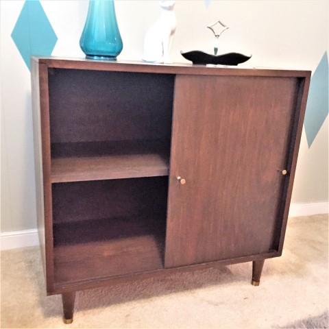 Hand Crafted Mid Century Modern Storage Cabinet W Sliding