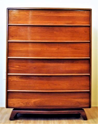 mid century modern solid cherry highboy dresser