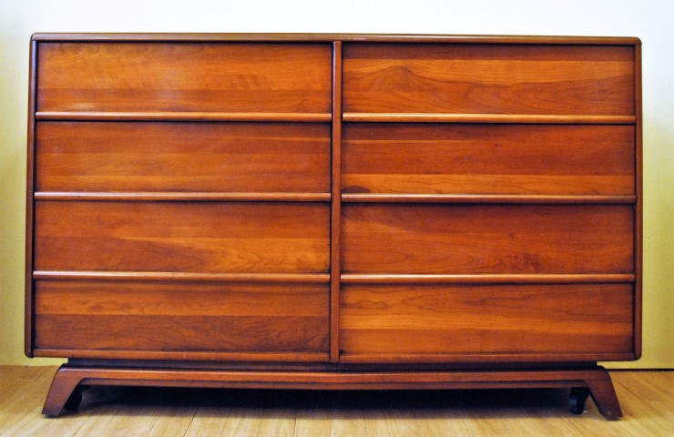 mid century modern solid cherry lowboy dresser
