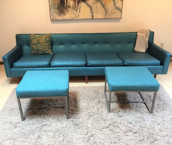 mid century modern teal naugahyde four seat sofa