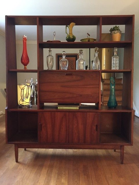mid century modern walnut room divider with bar