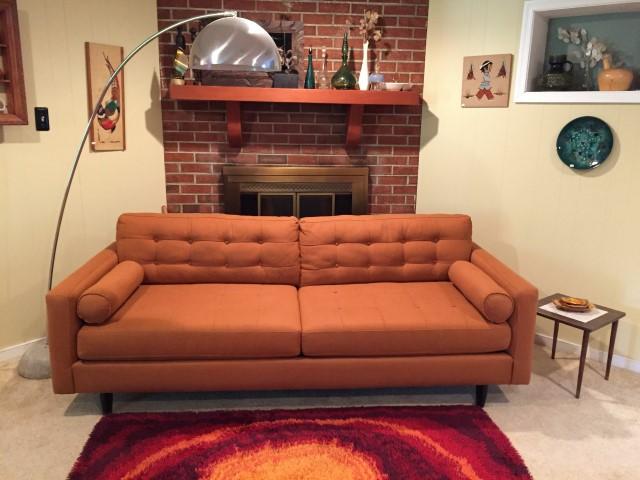 mid century modern style burnt orange sofa