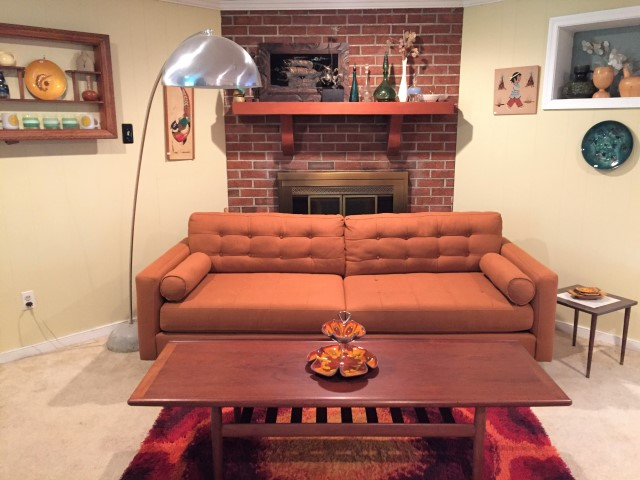 Burnt Orange Mid Century Style Sofa by Kroehler Furniture ...