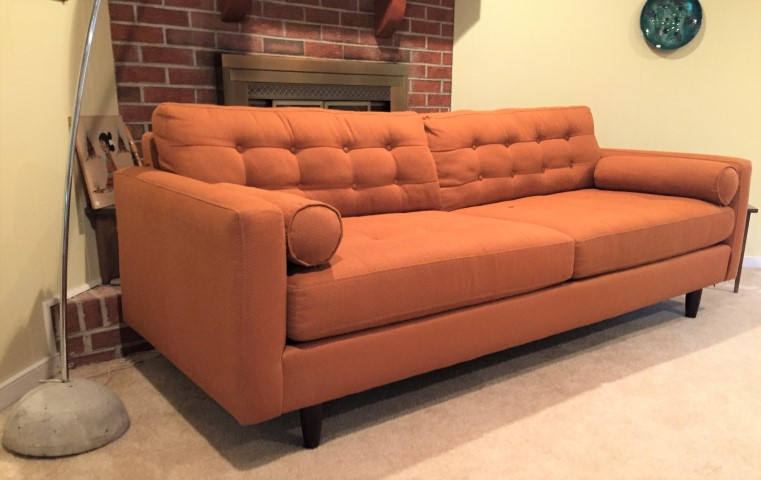 Mid Century Modern Style Burnt Orange Sofa ...