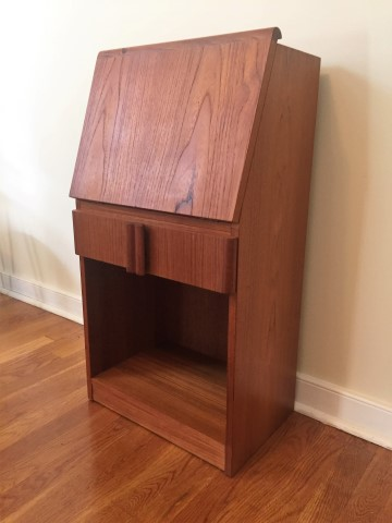 danish modern teak drop front side end table nightstand teak