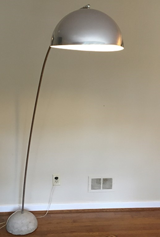 mid century modern chrome arc floor lamp