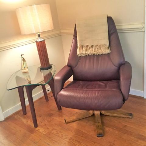 walnut base swivel lounge chair armchair vinyl recliner