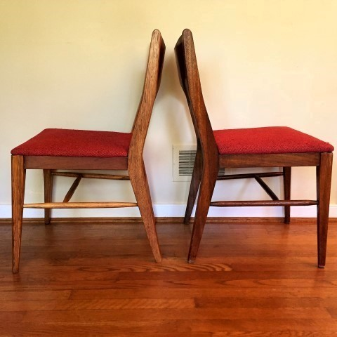 mid century modern walnut dining chair set of 6