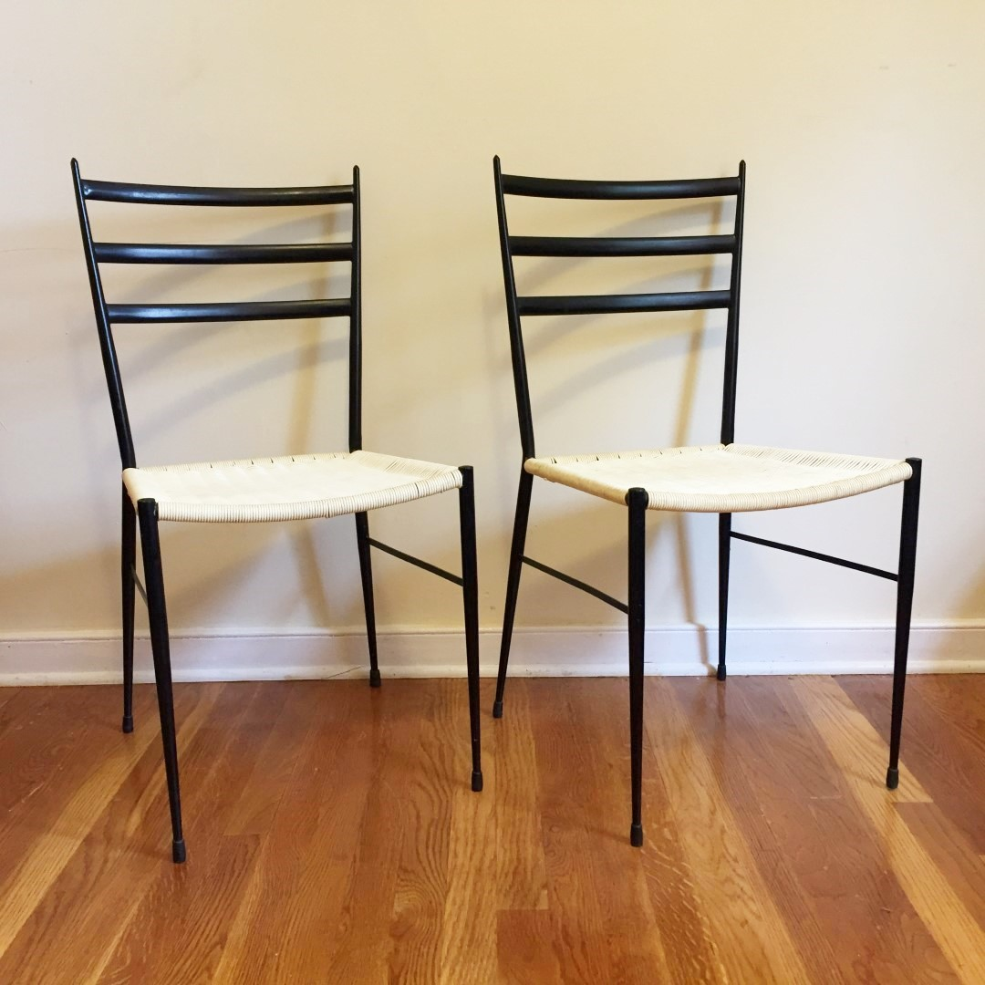 Set Of Two Vintage Gio Ponti Superleggera Italian Chairs