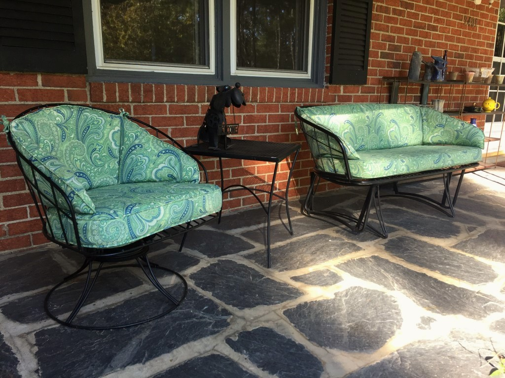 Mid Century Wrought Iron Patio Glider Amp Matching Rocker