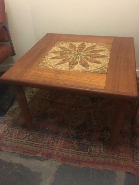 Danish Modern Teak Side Table With Decorative Tile Top Epoch