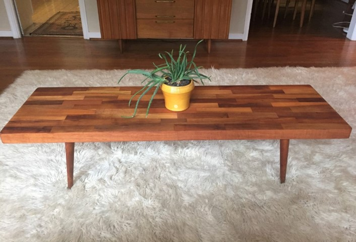 Vintage Handcrafted Walnut Coffee Table