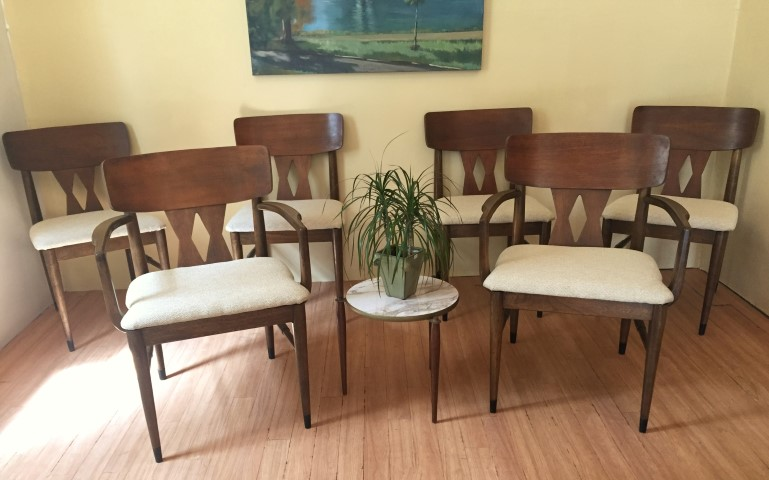 mid century modern diamond back walnut dining chairs