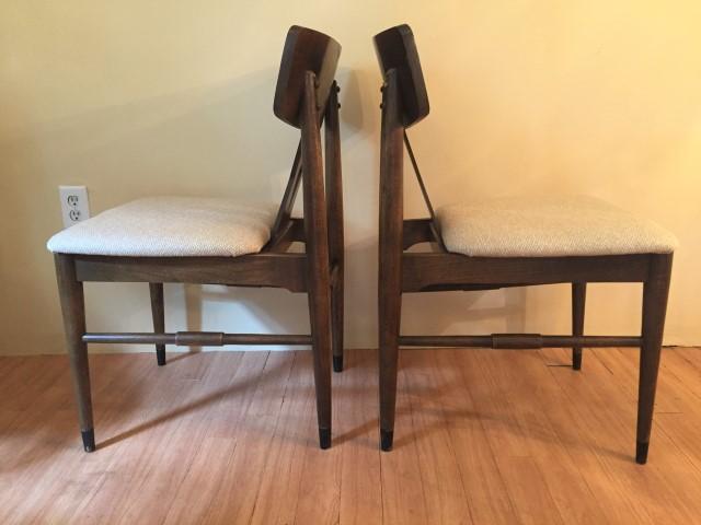 mid century modern diamond back walnut dining chairs