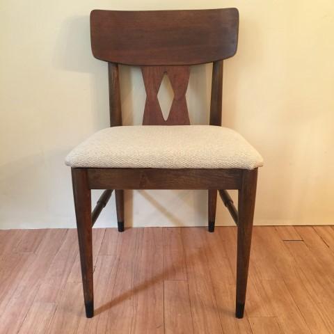 Mid Century Modern Walnut Diamond Back Dining Chair Set