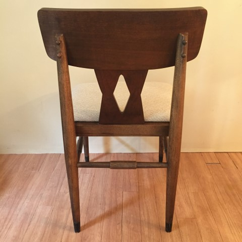 Mid century modern walnut diamond back dining chair set for Walnut dining chairs modern