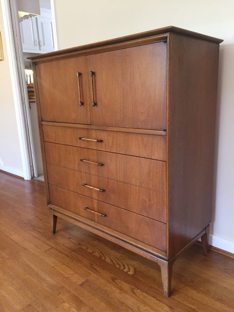 mid century modern gentleman's chest high dresser century