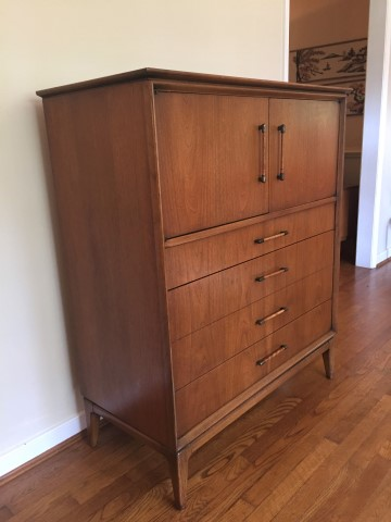 mid century modern gentleman's chest high dresser century