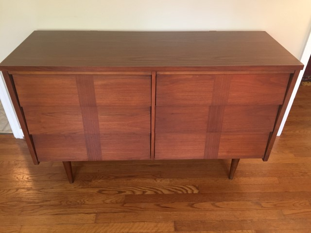 mid century modern lowboy dresser walnut six louvered drawers formica top