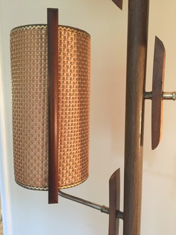 mid century modern tension rod pole lamp brass walnut fiberglass rattan