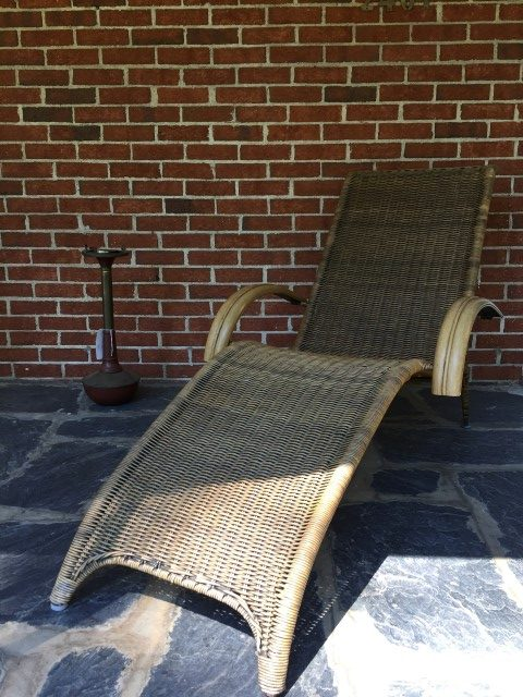 Mid Century Modern Chaise In Rattan And Bamboo Epoch