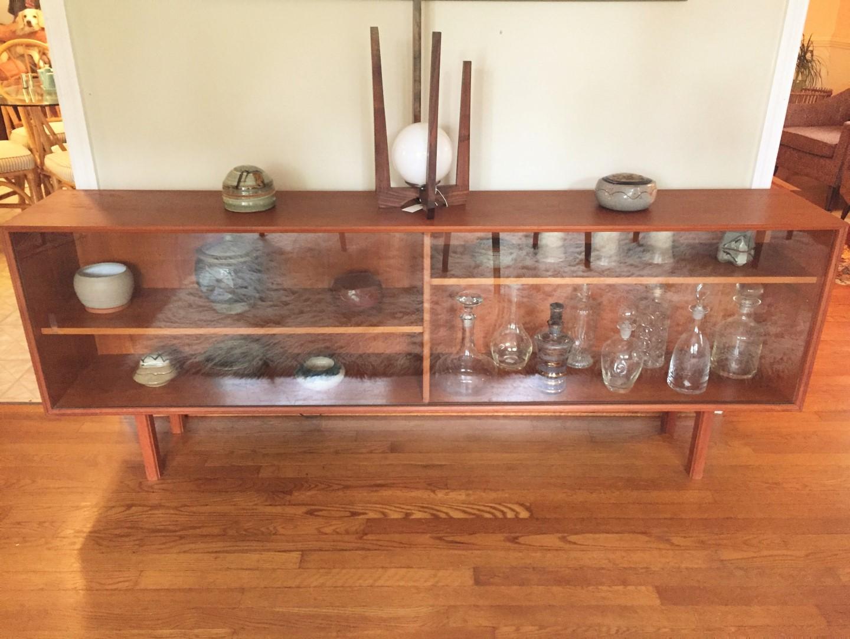Vintage danish teak glass front media center epoch for Sideboard glasfront