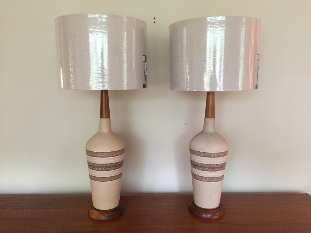 Pair Mid Century Modern Ceramic Lamps Walnut Accents Epoch