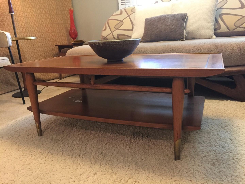 mid century modern walnut lane coffee table 1955