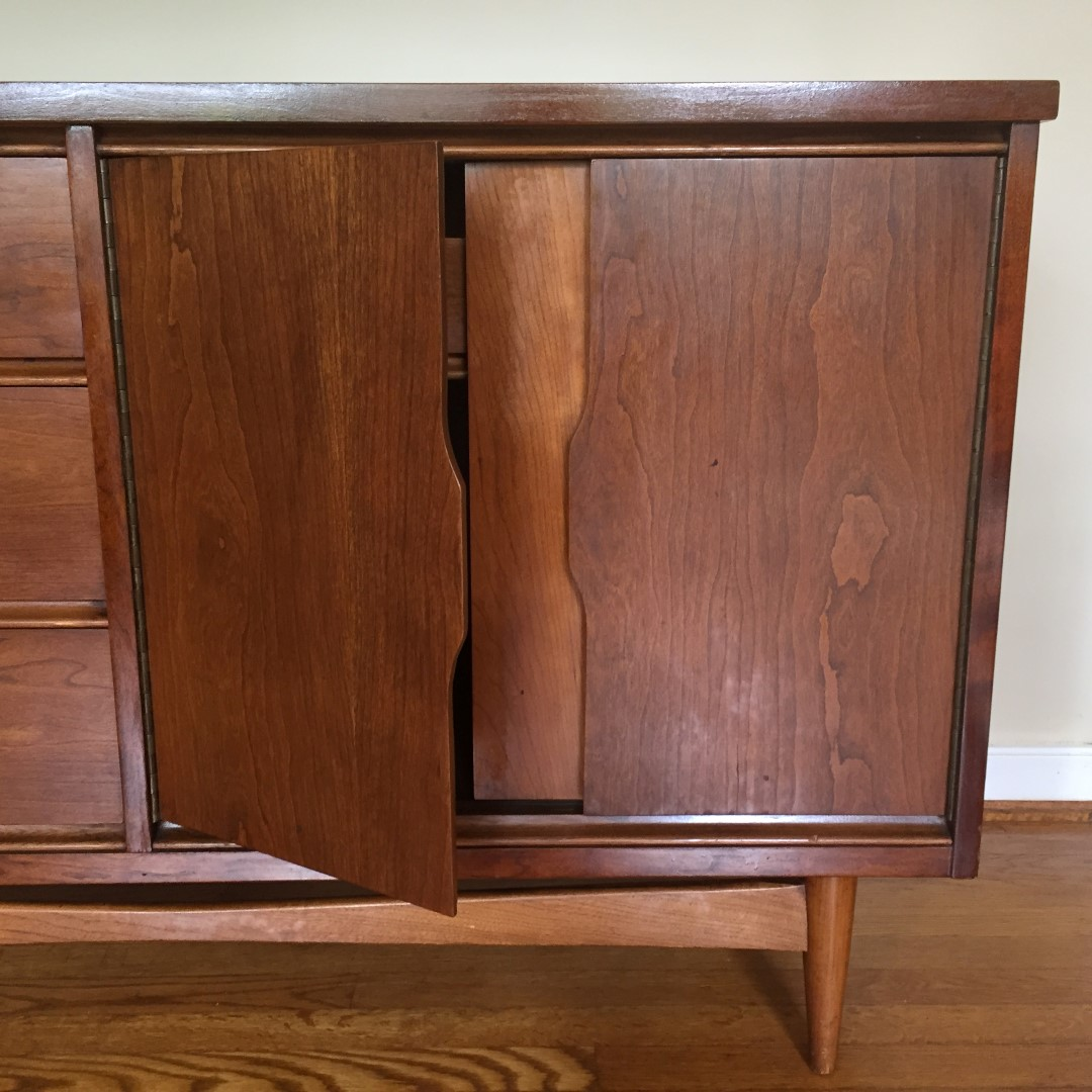 Walnut Credenza With Recessed Panels By Bassett Epoch