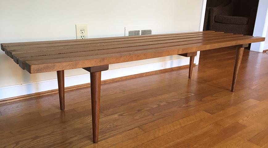 Mid Century Vintage Wood Slat Coffee Table Bench