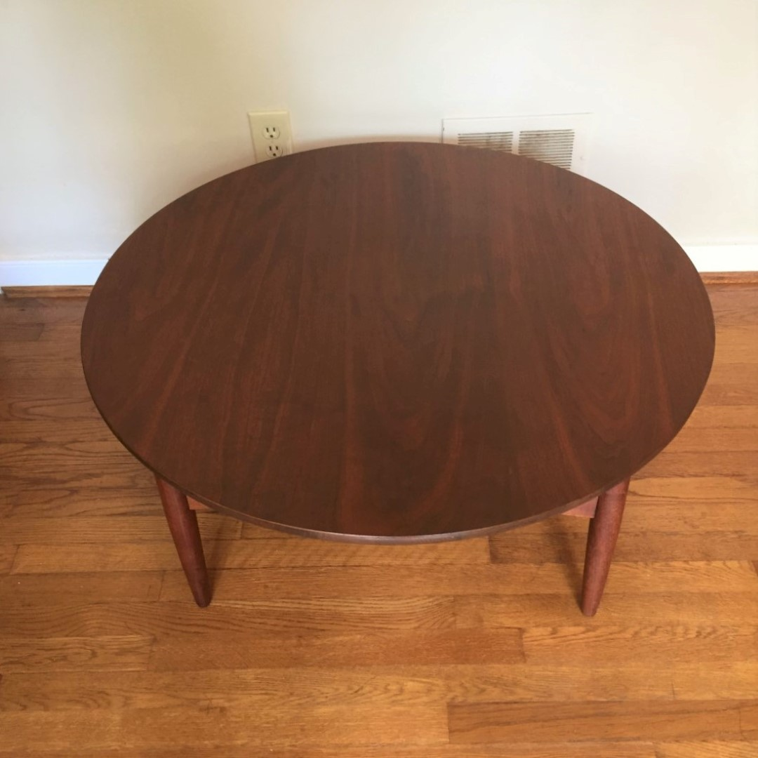 Vintage mid century modern circular walnut coffee table