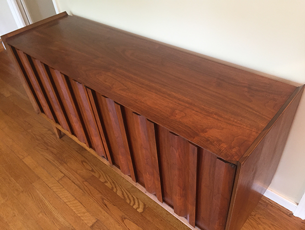 Vintage Mid Century Walnut Credenza By Andre Bus For Lane