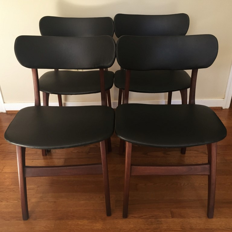 Danish modern walnut dining chair set black naugahyde for Walnut dining chairs modern