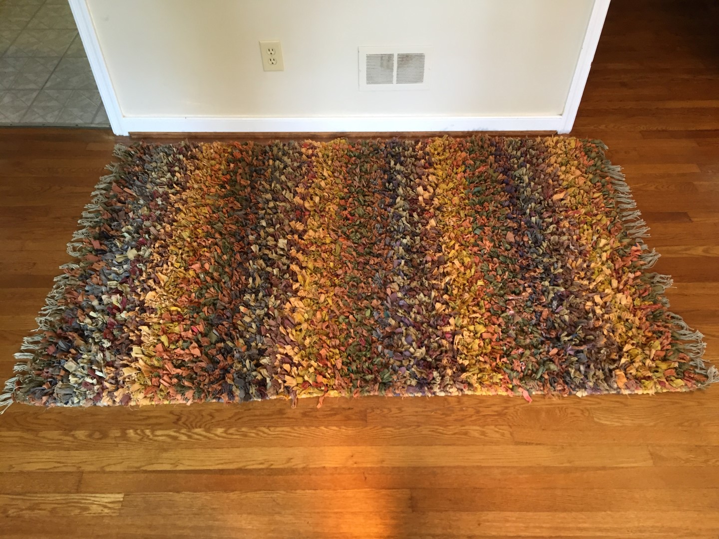multi colored rag weave area rug