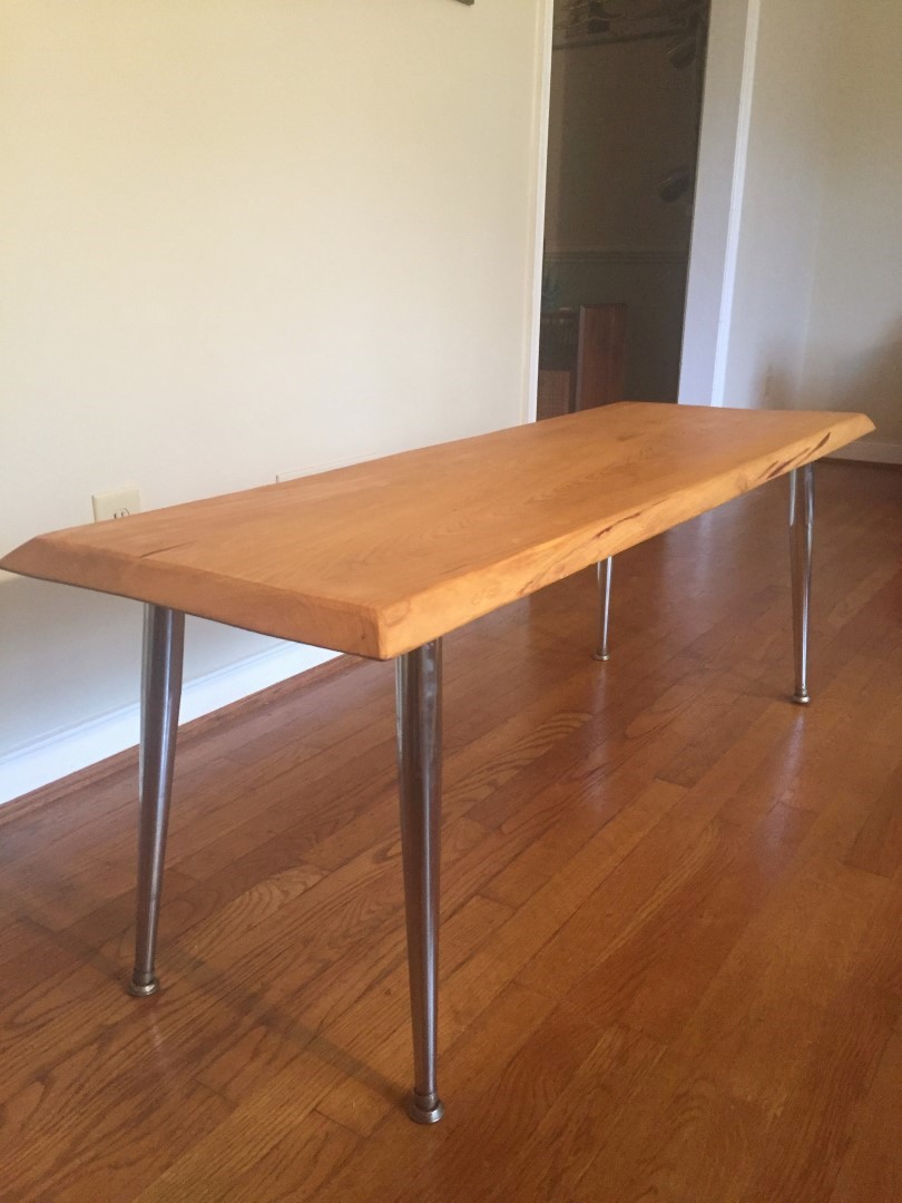 hand crafted live edge cypress coffee table chrome legs