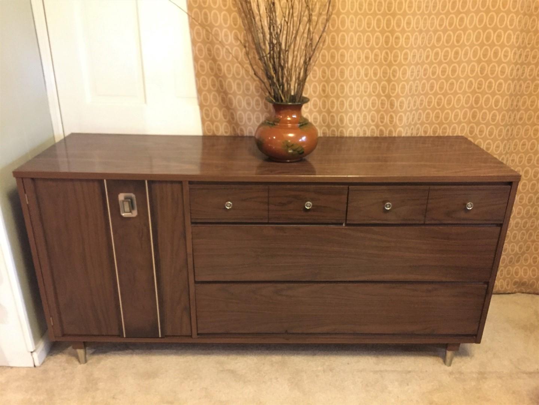 painted modern century product home mid vintage furniture lowboy dresser