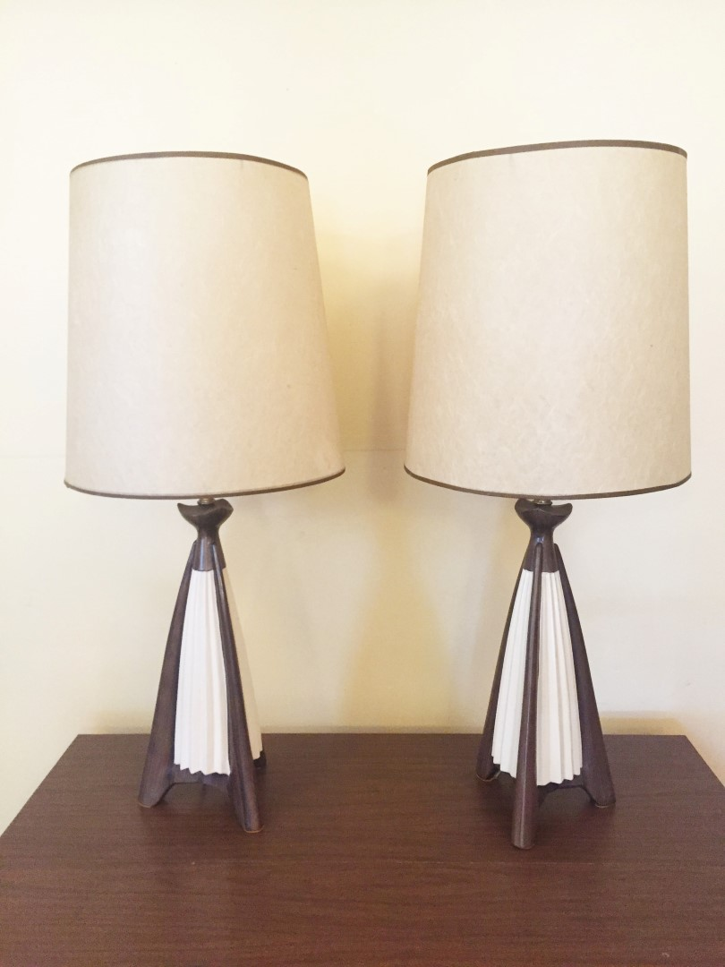 Pair Of Mid Century Modern Faux Bois Ceramic Table Lamps